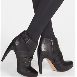 San Edelman Leather Mesh Booties Boots